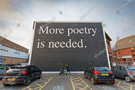 Stock Picture of The 'More Poetry Is Needed' graffiti, produced by Jeremy Deller for the Dylan Thomas Centenary