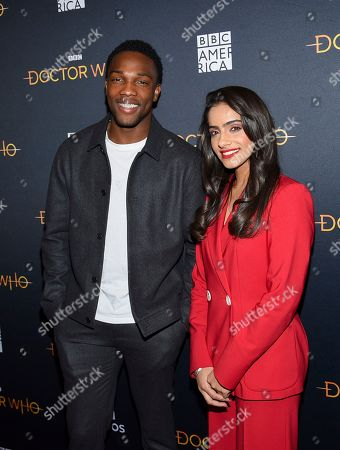 "Tosin Cole, Mandip Gill. British actors Tosin Cole, left, and Mandip Gill attend a special screening of BBC America's ""Doctor Who"" at the Paley Center for Media, in New York"
