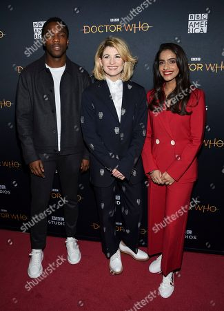"Tosin Cole, Jodie Whittaker, Mandip Gill. Actors Tosin Cole, left, Jodie Whittaker and Mandip Gill pose together at a special screening of BBC America's ""Doctor Who"" at the Paley Center for Media, in New York"