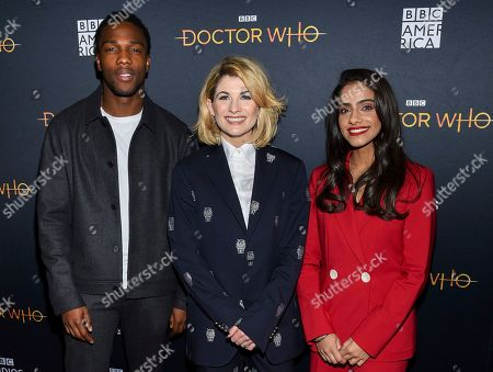 "Tosin Cole, Jodie Whittaker, Mandip Gill. Actors Tosin Cole, from left, Jodie Whittaker and Mandip Gill pose together at a special screening of BBC America's ""Doctor Who"" at the Paley Center for Media, in New York"