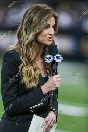 Fox reporter Erin Andrews does a live shot during pre-game before NFL Wild Card Playoff action between the New Orleans Saints and the Minnesota Vikings at the Mercedes Benz Superdome in New Orleans, LA