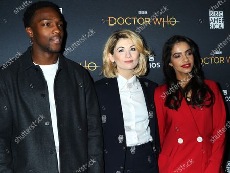 Tosin Cole, Jodie Whittaker and Mandip Gill