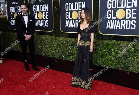 Rachel Bilson, Bill Hader. Rachel Bilson, right, arrives as Bill Hader looks on at the 77th annual Golden Globe Awards at the Beverly Hilton Hotel, in Beverly Hills, Calif