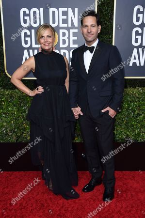 Stock Image of Julie Yaeger, Paul Rudda. Julie Yaeger, left, and Paul Rudda arrive at the 77th annual Golden Globe Awards at the Beverly Hilton Hotel, in Beverly Hills, Calif