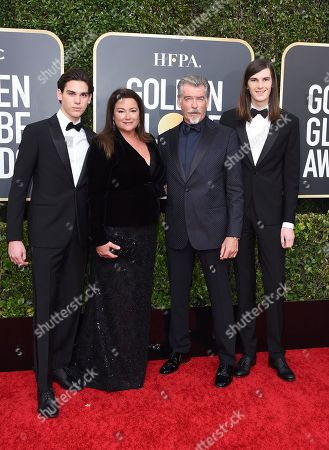 Pierce Brosnan, Keely Shaye Smith, Dylan Brosnan, Paris Brosnan. Pierce Brosnan, center right, Keely Shaye Smith, center left, and their sons Golden Globe Ambassadors Dylan Brosnan, right, and Paris Brosnan, left, arrive at the 77th annual Golden Globe Awards at the Beverly Hilton Hotel, in Beverly Hills, Calif