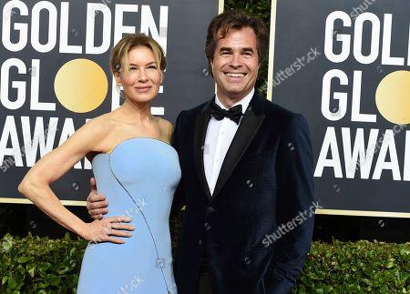 Renee Zellweger, Rupert Goold. Renee Zellweger, left, and Rupert Goold arrive at the 77th annual Golden Globe Awards at the Beverly Hilton Hotel, in Beverly Hills, Calif