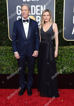 David E. Kelley, Michelle Pfeiffer. David E. Kelley, left, and Michelle Pfeiffer arrive at the 77th annual Golden Globe Awards at the Beverly Hilton Hotel, in Beverly Hills, Calif