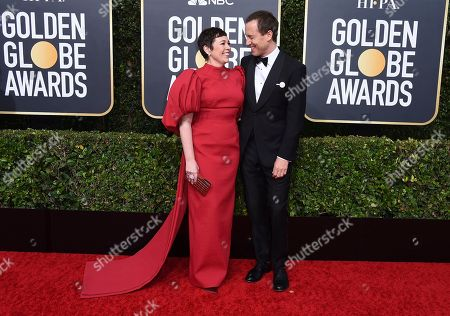 Olivia Colman, Tobias Menzies. Olivia Colman, left, and Tobias Menzies arrive at the 77th annual Golden Globe Awards at the Beverly Hilton Hotel, in Beverly Hills, Calif