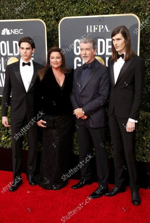 Pierce Brosnan, his wife Keely Shaye Smith and their sons Paris Brosnan (R) and Dylan Brosnan (L) arrive for the 77th annual Golden Globe Awards ceremony at the Beverly Hilton Hotel, in Beverly Hills, California, USA, 05 January 2020.