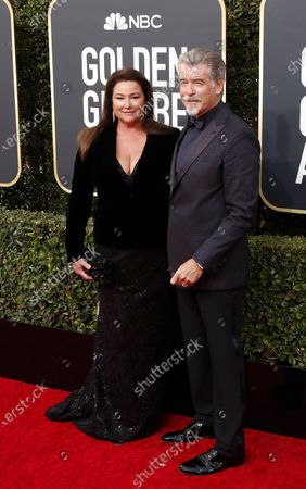 Pierce Brosnan and his wife Keely Shaye Smith arrive for the 77th annual Golden Globe Awards ceremony at the Beverly Hilton Hotel, in Beverly Hills, California, USA, 05 January 2020.