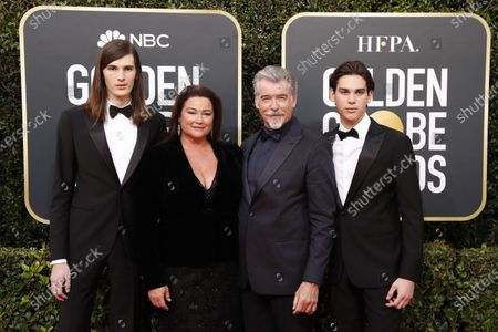 Pierce Brosnan, his wife Keely Shaye Smith and their sons Paris Brosnan and Dylan Brosnan arrive for the 77th annual Golden Globe Awards ceremony at the Beverly Hilton Hotel, in Beverly Hills, California, USA, 05 January 2020.
