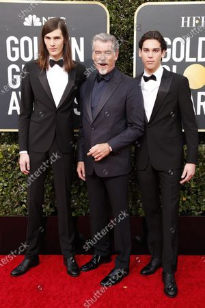 Pierce Brosnan, and his sons Paris Brosnan (R) and Dylan Brosnan (L) arrive for the 77th annual Golden Globe Awards ceremony at the Beverly Hilton Hotel, in Beverly Hills, California, USA, 05 January 2020.