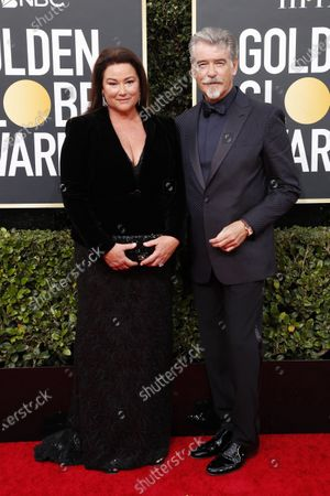 Pierce Brosnan, his wife Keely Shaye Smith arrive for the 77th annual Golden Globe Awards ceremony at the Beverly Hilton Hotel, in Beverly Hills, California, USA, 05 January 2020.