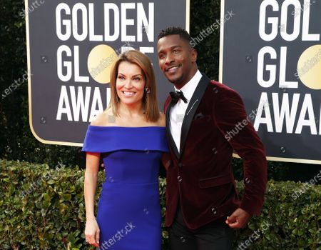 Kit Hoover (L) and Scott Evans (R) arrive for the 77th annual Golden Globe Awards ceremony at the Beverly Hilton Hotel, in Beverly Hills, California, USA, 05 January 2020.