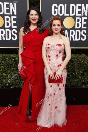 Jane Levy (R) and Lauren Graham arrives for the 77th annual Golden Globe Awards ceremony at the Beverly Hilton Hotel, in Beverly Hills, California, USA, 05 January 2020.