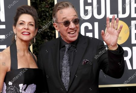 Jane Hajduk and Tim Allen arrive for the 77th annual Golden Globe Awards ceremony at the Beverly Hilton Hotel, in Beverly Hills, California, USA, 05 January 2020.