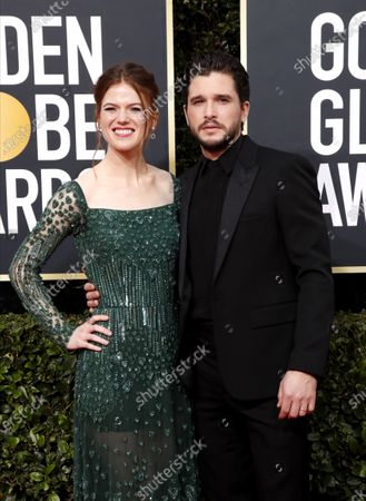 Rose Leslie (L) and Kit Harington arrive for the 77th annual Golden Globe Awards ceremony at the Beverly Hilton Hotel, in Beverly Hills, California, USA, 05 January 2020.