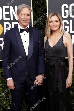 Michelle Pfeiffer and David E. Kelley arrive for the 77th annual Golden Globe Awards ceremony at the Beverly Hilton Hotel, in Beverly Hills, California, USA, 05 January 2020.