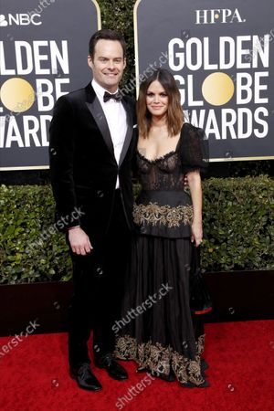 Bill Hader and Rachel Bilson arrive for the 77th annual Golden Globe Awards ceremony at the Beverly Hilton Hotel, in Beverly Hills, California, USA, 05 January 2020.