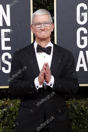 Tim Cook arrives for the 77th annual Golden Globe Awards ceremony at the Beverly Hilton Hotel, in Beverly Hills, California, USA, 05 January 2020.