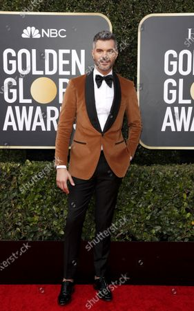 Stock Photo of AJ Gibson arrives for the 77th annual Golden Globe Awards ceremony at the Beverly Hilton Hotel, in Beverly Hills, California, USA, 05 January 2020.