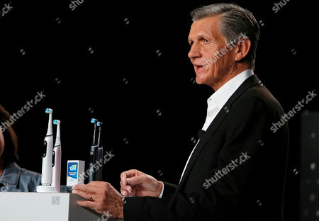 Stock Photo of Procter & Gamble Chief Brand Officer Marc Pritchard talks about the Oral B iO smart toothbrush during a Procter & Gamble news conference before CES International, in Las Vegas