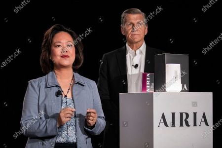 Stock Picture of P&G (Procter & Gamble) baby and feminine care CEO Fama Francisco (L) and P&G chief brand officer Marc Pritchard (R) present their diffuser Airia during the P&G press conference at the 2020 International Consumer Electronics Show in Las Vegas, Nevada, USA, 05 January 2020. The annual CES which takes place from 7-10 January is a place where industry manufacturers, advertisers and tech-minded consumers converge to get a taste of new innovations coming to the market each year.