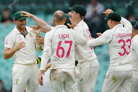 James Pattinson of Australia (L) celebrates with teammates after taking a diving catch to dismiss Todd Astle of New Zealand on day 4 of the third Test Match between Australia and New Zealand at the Sydney Cricket Ground (SCG) in Sydney, New South Wales, Australia, 06 January 2020.