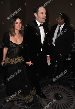 Rachel Bilson, Bill Hader. Rachel Bilson, left, and Bill Hader attend the 77th annual Golden Globe Awards at the Beverly Hilton Hotel, in Beverly Hills, Calif