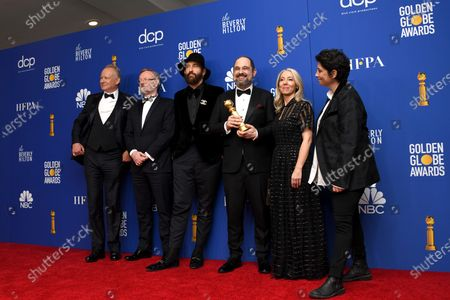 """Stellan Skarsgård , Jared Harris, Johan Renck, Craig Mazin, Jane Featherstone, and Carolyn Strauss for Best Television Limited Series Or Motion Picture Made For Television for """"Chernobyl"""" in the press room during the 77th annual Golden Globe Awards ceremony at the Beverly Hilton Hotel, in Beverly Hills, California, USA, 05 January 2020."""