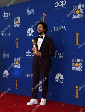 Ramy Youssef poses with the Best Performance by an Actor In a Television Series - Musical or Comedy award in the press room during the 77th annual Golden Globe Awards ceremony at the Beverly Hilton Hotel, in Beverly Hills, California, USA, 05 January 2020.