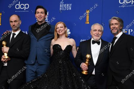 Jesse Armstrong with the awarad for Best Television Series - Drama for 'Succession' and Nicholas Braun, Sarah Snook, Brian Cox, holding the award for Best Performance by an Actor in a Television Series - Drama in 'Succession' and Alan Ruck pose in the press room during the 77th annual Golden Globe Awards ceremony at the Beverly Hilton Hotel, in Beverly Hills, California, USA, 05 January 2020.