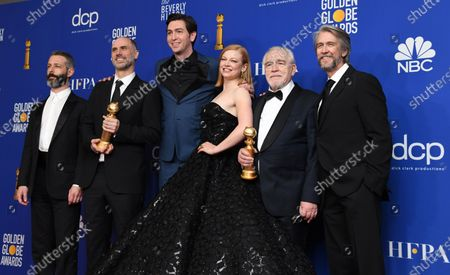 Jeremy Strong, Jesse Armstrong with the awarad for Best Television Series - Drama for 'Succession', Nicholas Braun, Sarah Snook, Brian Cox, holding the award for Best Performance by an Actor in a Television Series - Drama in 'Succession' and Alan Ruck pose in the press room during the 77th annual Golden Globe Awards ceremony at the Beverly Hilton Hotel, in Beverly Hills, California, USA, 05 January 2020.