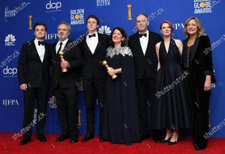 Dean-Charles Chapman, Sam Mendes holding the award for Best Director - Motion Picture '1917', George MacKay, Pippa Harris holding the Best Motion Picture - Drama award for Mendes' movie '1917', Callum McDougall, Krysty Wilson-Cairns and Jayne-Ann Tenggre pose in the press room during the 77th annual Golden Globe Awards ceremony at the Beverly Hilton Hotel, in Beverly Hills, California, USA, 05 January 2020.