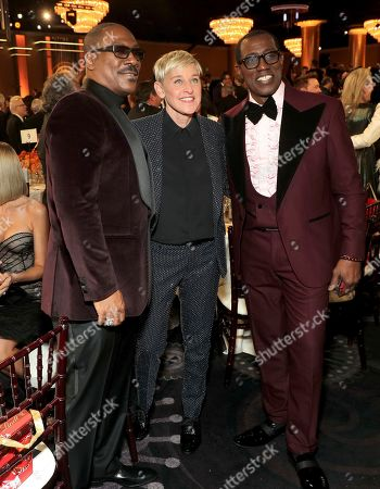 Eddie Murphy, Ellen DeGeneres, Wesley Snipes. Eddie Murphy, from left, Ellen DeGeneres and Wesley Snipes at the 77th annual Golden Globe Awards at the Beverly Hilton Hotel, in Beverly Hills, Calif
