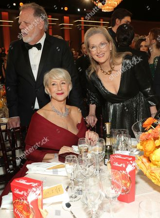 Taylor Hackford, Helen Mirren, Meryl Streep. Taylor Hackford, from left,Helen Mirren, and Meryl Streep at the 77th annual Golden Globe Awards at the Beverly Hilton Hotel, in Beverly Hills, Calif