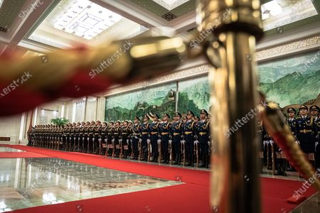 Members of an honor guard wait prior to a welcome ceremony for Prime Minister of Laos Thongloun Sisoulith at the Great Hall of the People in Beijing, China, 06 January 2020.
