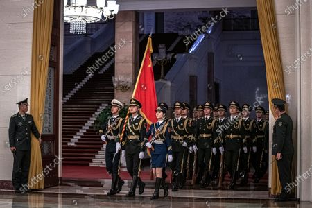 Members of an honor arrive for a welcome ceremony for Prime Minister of Laos Thongloun Sisoulith at the Great Hall of the People in Beijing, China, 06 January 2020.