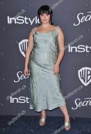 Barbie Ferreira arrives at the InStyle and Warner Bros. Golden Globes afterparty at the Beverly Hilton Hotel, in Beverly Hills, Calif