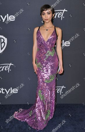 Rowan Blanchard arrives at the InStyle and Warner Bros. Golden Globes afterparty at the Beverly Hilton Hotel, in Beverly Hills, Calif