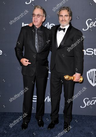 "Tim Allen, Joaquin Phoenix. Tim Allen, left, and Joaquin Phoenix, winner of the award for best performance by an actor in a motion picture drama for ""Joker"", arrive at the InStyle and Warner Bros. Golden Globes afterparty at the Beverly Hilton Hotel, in Beverly Hills, Calif"