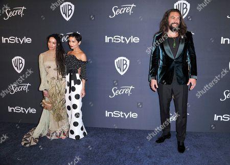 Lisa Bonet, Zoe Kravitz, Jason Momoa. Lisa Bonet, from left, Zoe Kravitz, and Jason Momoa arrive at the InStyle and Warner Bros. Golden Globes afterparty at the Beverly Hilton Hotel, in Beverly Hills, Calif