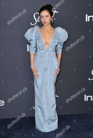 Bel Powley arrives at the InStyle and Warner Bros. Golden Globes afterparty at the Beverly Hilton Hotel, in Beverly Hills, Calif