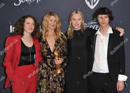 """Jaya Harper, Laura Dern, Laura Brown, Ellery Harper. Jaya Harper, from left, Laura Dern, winner of the award for best performance by an actress in a supporting role in any motion picture for """"Marriage Story"""", Editor in Chief of InStyle Magazine Laura Brown, and Ellery Harper arrive at the InStyle and Warner Bros. Golden Globes afterparty at the Beverly Hilton Hotel, in Beverly Hills, Calif"""