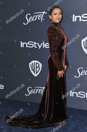 Stock Picture of Kat Graham arrives at the InStyle and Warner Bros. Golden Globes afterparty at the Beverly Hilton Hotel, in Beverly Hills, Calif