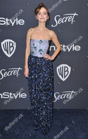 Stock Picture of Ahna O'Reilly arrives at the InStyle and Warner Bros. Golden Globes afterparty at the Beverly Hilton Hotel, in Beverly Hills, Calif