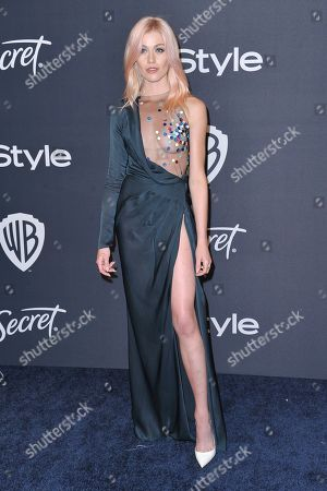Katherine McNamara arrives at the InStyle and Warner Bros. Golden Globes afterparty at the Beverly Hilton Hotel, in Beverly Hills, Calif