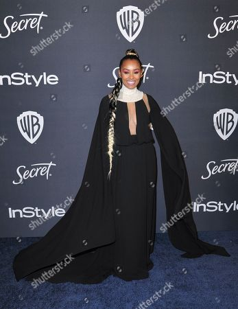 Melanie Liburd arrives at the InStyle and Warner Bros. Golden Globes afterparty at the Beverly Hilton Hotel, in Beverly Hills, Calif