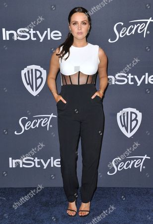 Camilla Luddington arrives at the InStyle and Warner Bros. Golden Globes afterparty at the Beverly Hilton Hotel, in Beverly Hills, Calif