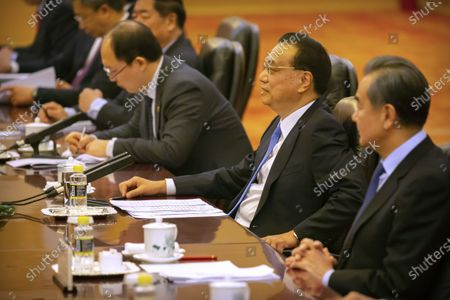 Chinese Premier Li Keqiang speaks during a meeting with Prime Minister of Laos Thongloun Sisoulith at the Great Hall of the People in Bejiing, China, 06 January 2020.